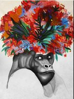 ape monkey - Grumpy Gorilla Monkey Ape Street Art Graffiti Flower Head Hand Painted modern Decor Art Oil Painting On Canvas customized size accepted graf