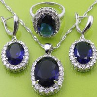 Wholesale Flawless Blue Sapphire Sterling Silver Jewelry Sets Earrings Pendant Necklace Ring For Women Free Jewelry Box