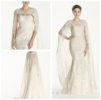 attaching appliques - 2016 Cloak Sheath Wedding Dresses All over Lace applique decoration Jewel neckline and Attached chiffon cape featues CWG717 gown