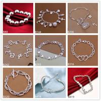 achat en gros de bracelet coeur perles-musique de coeur perles bracelet en argent sterling 8 pièces style mixte GTB13 en ligne pour le bracelet en argent 925 de vente femmes de la mode
