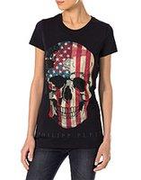 Wholesale 2016 Cool Women Stone Skull T Shirts Short Sleeve Tee Shirts White Black Size S M L XL