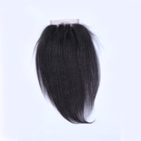 Wholesale Italy Yaki Lace Closure Top Closure Human Hair Peruvian Hair Extension Free Style Bleached Knots Swiss Lace Natural Hairline Mid Three Part