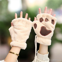 bare cats - Woman Winter Fluffy Bear Cat Plush Paw Claw Glove Novelty soft toweling lady s half covered gloves mittens Valentine s Day Gift