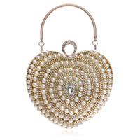 beautiful clutch - Fashion beautiful heart shaped woman Luxury dinner clutch handbag wedding party dress pearl beaded evening bag