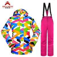 Wholesale new snowboard women ski suits jacket pants waterproof breathable thermal padded super warm ski wear high Q