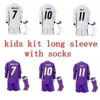 Wholesale 2016 Real madrid Kids soccer Jersey Youth Child kit RONALDO home white away Purple long Sets JAMES BALE RAMOS ISCO football shirt