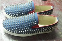 Cheap Red bottom sneakers store- blue denim and spiked flats mens red sole shoes party casual shoes well wedding