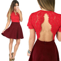 Wholesale 2016 Summer Fashion Night Club Wear Cute Women V neck Solid Short Hole Sexy Lace Backless A line Dress