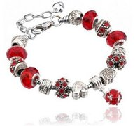 Wholesale Fashion Charms Bracelets European Style Authentic Tibetan Silver Blue Crystal Charm Bracelets for Women Original DIY Beads Jewelry Gift