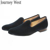 plain shoes - Handmade Plain Black Velvet Loafers Slip On Men s Flats Smoking Slippers Men Dress Formal Shoes New Fashion Wedding Shoes Size US