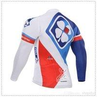 al por mayor jerseys largo fdj-La más nueva llegada FDJ que completa un ciclo los colores azules rojos blancos de los jerseys colorea la ropa de la bici de la manga de la bici Fleece / ningunos Fleece para el jersey de ciclo de la opción