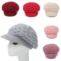 Wholesale 2016 New Women s Fashion Solid Color Knit Crochet Beret Winter Warm Braided Baggy Beanie Cap High Quality