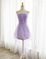 big photo stock - purple chiffon lace Custom made New Big Discount cap strapless Bridesmaid Dresses formal dresses with flower