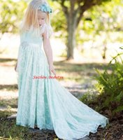 Wholesale Mint Green Lace Long Flower Girl Dresses For Weddings Backless First Communion Dress A Line Pageant Birthday Party Gown