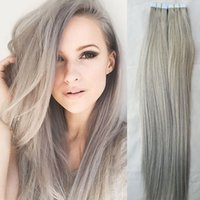 "Cheap #Grey Tape Hair Extenisons 18"" 20"" 22"" 24"" 20pcs set Tape Hair Remy Human Hair Skin Weft Russian Hair Extension"