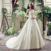 Wholesale 2016 Wedding Dresses Sweep Train Lace Applique Bridal Gowns Strapless Sexy Backless Plus Size Elegant Sash Bow Formal Dresses For Wedding