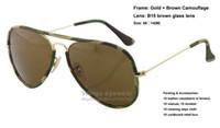 Nouveaux lunettes de soleil en métal de style pilote 169 Cadre en or Marron Emballage de camouflage B15 lentille en verre trempé pour les amateurs militaires gafas de sol