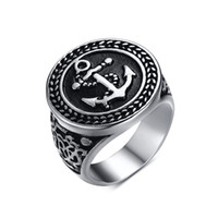 african americans pictures - Men Stainless Steel Rings Engagement Band with Anchor Picture at Punk Rock Style for Men s Fahsion Biker Jewelry