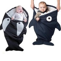 Wholesale Baby Sleeping Bags Newborn Cotton Cartoon Shark Swaddle Blanket Wrap Infants Winter Cotton Quilt Bed Mat Baby Nursery Bedding