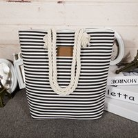 Wholesale 1PC Classical Women Ladies Fashion Stripes Canvas Shoulder Bag New Hot Messenger Bag Summer Beach Handbag Bags Totes Bolsa Feminina