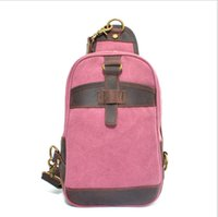 Wholesale Vintage Man Chest Bags High Quality Canvas Patchwork with Cow Leather Bag Various of Color Bags J700001