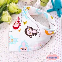 Wholesale 20 Pattern Infant Baby Cotton Bibs Double Layers Cartoon Saliva Towels Kids Waterproof Feeding Bib Triangle Burp Thicken Bandana bibs