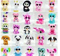 al por mayor ty grande de la felpa del ojo-15 PC Ty Beanie Boos juguetes rellenos felpa de los juguetes de los animales grandes de los ojos Muñecas suaves para los regalos de cumpleaños de los cabritos Venta caliente