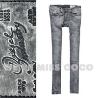 Wholesale 2016 spring summer new European Famous D Brand Slim Sexy black smoky gray tie dye small straight jeans denim pants for women
