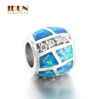 Wholesale Vintage Sterling Silver Blue Opal Stone charms fashion beads Fits Statement Bracelets Necklaces women wedding Jewelry FX001