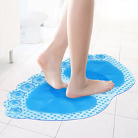 Wholesale cm Cartoon Ellipse PVC Double foot bath mat Large plastic Creative bathroom Floor Mats