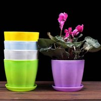 Wholesale 8pcs Colorful plastic nursery pots With Tray small Flower shape meaty flowers potted Mini garden supplies Easy to clean