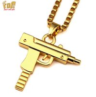 beaded gun - 8k Gold Plated Out Sub Gun Uzi Pendant Necklace Fashion Jewelry For Men Choker Hip Hop Necklace With FREE quot ROLO Chain
