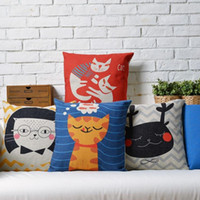 army wives - 45cm Lovely Cat Play with His Wife Cotton Linen Fabric Waist Pillow inch Hot Sale New Home Decorative Sofa Car Back Cushion