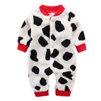 Wholesale Infant Clothing Newborn One Piece Jumpsuit Coral Fleece Animal Leopard Bear Baby Girls Boys Romper Cotton Sleepwear Spring Fall Clothing
