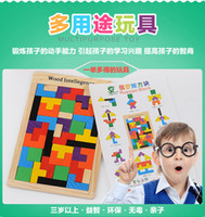 Wholesale Wood intellegence Russian Tetris Puzzle Jigsaw Intellectual Building Block and Training Toy for Early Education Children wood Toys