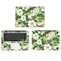 Wholesale Retro White Flowers Tree Vinyl Full Body Cover Laptop Decal Skins For Apple Macbook inch Protective Stickers