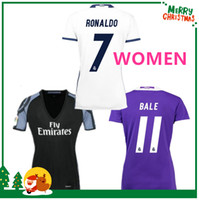 Wholesale women Real madrid Soccer Jersey Benzema Ronaldo football Modric Kroos Sergio Ramos Bale Marcelo james home shirts