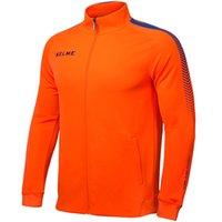 Wholesale Kelme K077 Men Long Sleeve Stand Collar Breathable Windproof Sports Windbreaker Training Football Knitted Jacket Orange