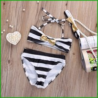 band bikini - 2016 summer Baby Girls Striped Bow Bikini Set Swimwear Swimsuit Bathing Swimming Head Band real factory cheap price fast