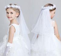 Wholesale New Cheap Child Garland Headpiece Veils Princess Flower Girl Headband For Wedding Party Pink White Flower Girls Hair Accessory