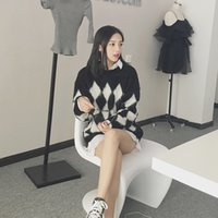 beauty super l - AMY super beauty of new fund of autumn winters mohair ling color matching long sleeve knit shirt collar set loose sweaters