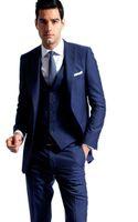 best holiday dresses - Side Vent Navy Blue Groom Tuxedos Peaked Lapel Slim Fit Best Men s Wedding Dress Prom Holiday Suit New Arrival Jacket pants Vest
