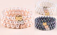bear nature - hip hop High quality Men s womens Shell pearl cute bear stainless steel Cute Lovely nature Pearls Bears Beads bracelets Bangles Jewelry