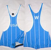 Wholesale Martial Arts Shirts Wrestling Singlet John Smith Olympic Singlet Stripe Ventage Skinny Tights Gym Tank Top