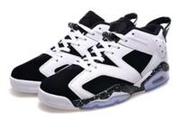 al por mayor jordan mujer-Aire Dan 6 Zapatos Oreo mujeres retro baloncesto de los hombres AJ6 100% de las zapatillas de deporte original Jordans las mujeres de los hombres Zapatos de deporte 36-47 Eur