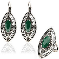 Pendientes de turquesa juego de anillos España-Bohemia clásico de la vendimia de la joyería del conjunto de joyería de plata antiguo plateado Resina ojos turquesa Pendientes de piedra anillo de las mujeres
