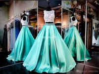 Cheap Real Images Two Pieces Prom Dresses Lace Skirt Beaded Floor Length Satin Backless Cew Neckline 2016 Cheap Pageant Evening Gowns Party Dress