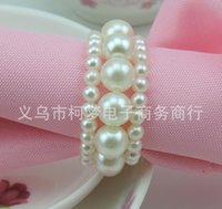 dinner napkin - New Shiny White Round Pearls Napkin Rings for wedding dinner showers holidays Table Decoration Accessories Z530