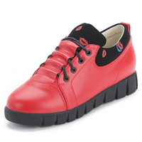 Wholesale 2016 Top Fashion Special Offer Rubber Base Lead The Shallow Mouth of Shoes with Flat Boots In Rough Women Casual Korean A Red jd
