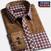 Wholesale Mens Thick Miter Brushed Plaid Long Sleeve Business Casual Dress Shirt Dress shirt